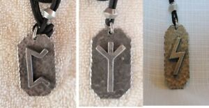 3 Celtic Rune Pewter Pendants Sun, Protection, & Luck  Linen Cord & Pewter Slide