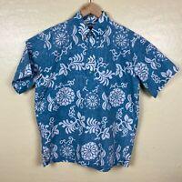 Reyn Spooner Hawaiian Traditionals Shirt Mens Size Medium Floral Blue Polo