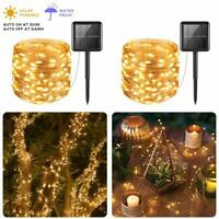 33ft 100 LED Solar Powered String Lights Copper Wire Light for Gardens Home Xmas