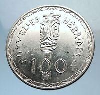 1966 New Hebrides Colony of France 100 Francs Silver BISJ Totem Pole Coin i71940