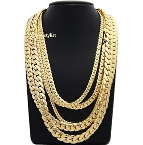 """Mens Miami Cuban link Chain 5mm to 12mm 8"""" 9"""" 20"""" 22"""" 24"""" 26"""" 30"""" Gold Plated"""