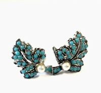 Vintage Silver Tone Turquoise & Pearl Leaf Earrings - Gift Boxed