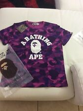 Men's Bape A Bathing Ape Shirt 1st Purple Camo College Tee Size Large