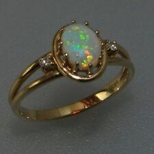 Sehr schöner 585er Gold Ring mit Edelopal & 2 Diamanten - V7767