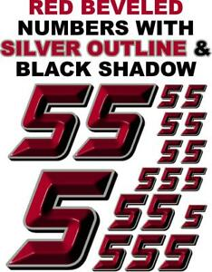 3-D RACING NUMBERS (5's) RED BEVELED Decal Sticker Sheet 1/8-1/10-1/12 RC NASCAR
