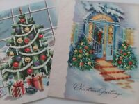 2 Vtg MID CENTURY Decorated CHRISTMAS TREE in Window & On Porch GREETING CARDS