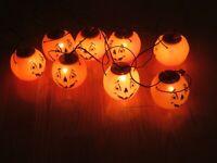 "RARE Halloween Blow Mold 5"" Pumpkin JOL Strand String Lights Vintage"