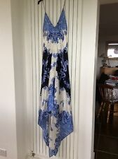 JS Boutique Collection Stunning Silk Blue And Cream Dress In Size 16.