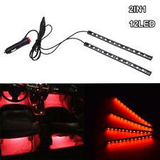 1SET 12LED Red Cigarette Lighter Car Interior Floor Atmosphere Light Strip