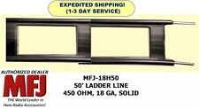 MFJ-18H050 50 Feet Twin Lead Ladder Line, 450 OHM, 18 GA, Solid Copper/Steel