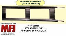 MFJ-18H050 50 Feet Twin Lead Ladder Line, 450 OHM, 18 GA, Solid Copper/Steel