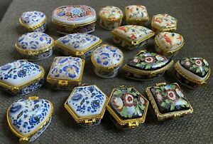 Lot of 18 Porcelain Pill ring trinket box boxes Floral With Gold metal Trim