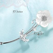 18K WHITE GOLD PLATED CLEAR CRYSTAL FLOWER BROOCH ELEGANT PEARL SHELL