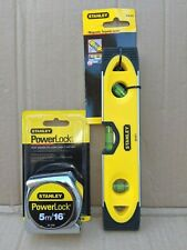 TWIN PACK STANLEY 5M POWERLOCK TAPE AND STANLEY MAGNETIC TORPEDO LEVEL