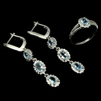 Unheated Oval Blue Aquamarine 6x4mm White Cz 925 Sterling Silver Ring Earrings
