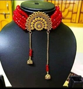 Indian Ethnic Oxidized with Crystal Beads Choker Necklace without Earrings