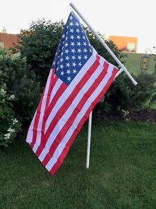 "New 1"" Heavy Duty PVC Spinner Flag Pole Kit with Light Weight USA Flag"