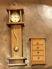 Doll House Miniature Grandfather Clock & 4 Drawer Chest