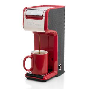 2 In 1 Single Serve Coffee Maker Brewer, Ground & K-Cup Pods, Slim Design, Red