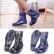 Women PVC Print Mid Calf Rain Boots Waterproof Polka Dot Shoes Fashion New Size