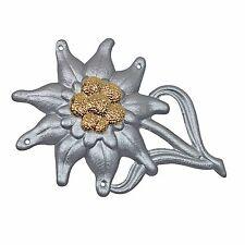 WW2 Metal Edelweiss Cap Badge - Repro German Mountain Troops Beret Hat Silver