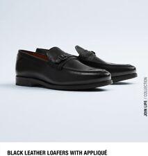 Zara Men Black Real Leather Loafers In Uk 10 New