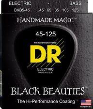 DR BKB5-45 BLACK BEAUTIES COATED BASS STRINGS, MEDIUM GAUGE 5's, 45-125