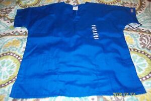 MISSES SCRUB TOP SIZE X SMALL BLUE NEW WITH TAGS CHEROKEE BRAND