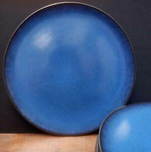STONEWARE DINNER PLATES SET BLUE LARGE AIDA RAW SCANDINAVIAN DESIGN DECOR USED