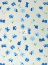 """BUTTERFLY PRINT FLANNEL FABRIC - Blue - 45"""" WIDTH POLYCOTTON SOLD BY THE YARD"""