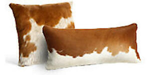 Cowhide Pillow Cover Cushion Cow Hide Hair on cover. SET OF 2. Brown and White