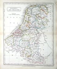 HOLLAND,  BELGIUM, LUXEMBOURG, Sidney Hall  Antique Map c1840