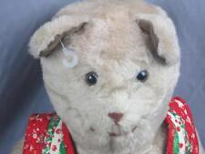 BIG VINTAGE LUCKY STAR TOYS TEDDY BEAR CHRISTMAS VAST SUEDE EARS PAWS PLUSH
