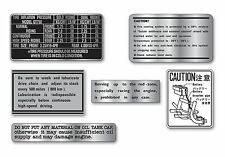 Suzuki 1972 GT750J  6 Piece Warning and Service Label Decal Set