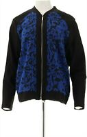 Susan Graver Jacquard Knit Long Sleeve Zip Front Bomber Jacket (Blue, M)