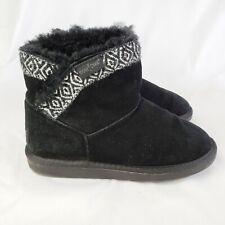 Minnetonka Middleton Sheepskin Ankle Boots Black Fur Womens Size 6