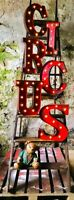 LED CIRCUS CARNIVAL AGED PEELING PAINT METAL 33 CM. ALPHABET LETTERS A to Z
