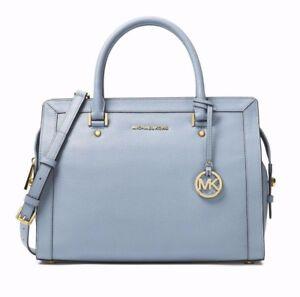 NWT Michael Kors Collins Pebbled Leather Large Satchel Pale Blue MSRP $368