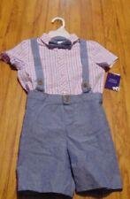 Matt's Scooter boys 4T Blue pink suspender bow tie outfit Easter/Spring/ NWT