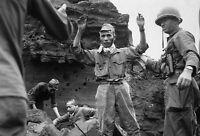 B&W Photo Japanese Surrendering Iwo Jima 1945 WWII WW2 World War Two Japan USMC