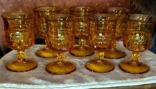 Set of 7 small Vintage Indiana Glass Kings Crown Thumbprint Amber 3 1/2""