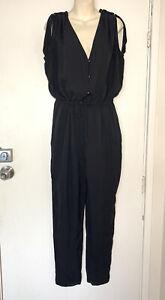 WITCHERY Black Silk Playsuit Jumpsuit Sz 14 #22500