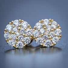 Sterling Silver Cluster Diamond Stud Earrings Hip Hop Round Mens 14K Gold 925