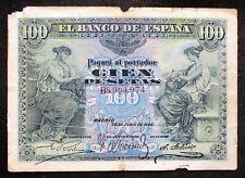 More details for spain 100 pesetas banknote (p-59a) 1906 series b grade: g (good)