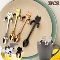 Netter Edelstahl, der langen Griff-Katzen-Löffel-Kaffeelöffel-Essgeschir hängt