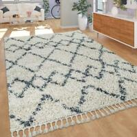 Fluffy Bedroom Rug Cream Blue Long Pile Geometric Pattern Carpet Room Lounge Mat