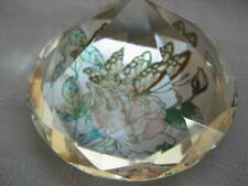 Prism Paperweight Art Stain Cut Glass Pyramid Butterfly Flowers