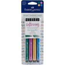 Faber - Castell Lettering Art Pitt Artist Pen Jewel Tones Brush Tip 4 Pcs