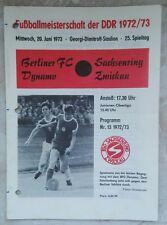 Programa 20.06.1973 Sajonia anillo Zwickau BFC Dynamo Berlin RDA Ober liga Herrmann
