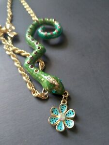 Betsey Johnson snake and flower necklace on gold toned chain